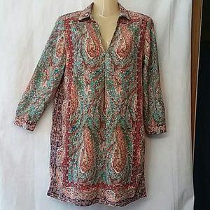Joan Vass Boho Print Long Tunic Top or Dress